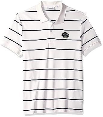 852092d3 Lacoste Men's Short Sleeve PIMA HERTIAGE France Striped Polo, Flour/White/Navy  Blue