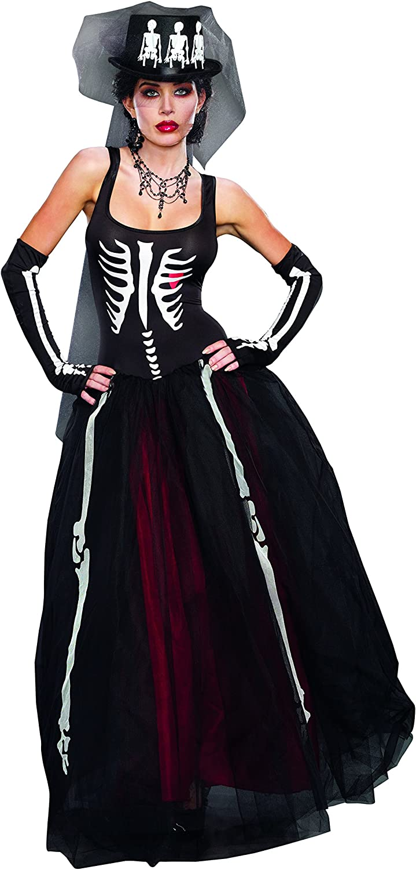B00TDWOPPM Dreamgirl Women's Ms. Bones Zombie Bride Costume 81W4h1YwfpL