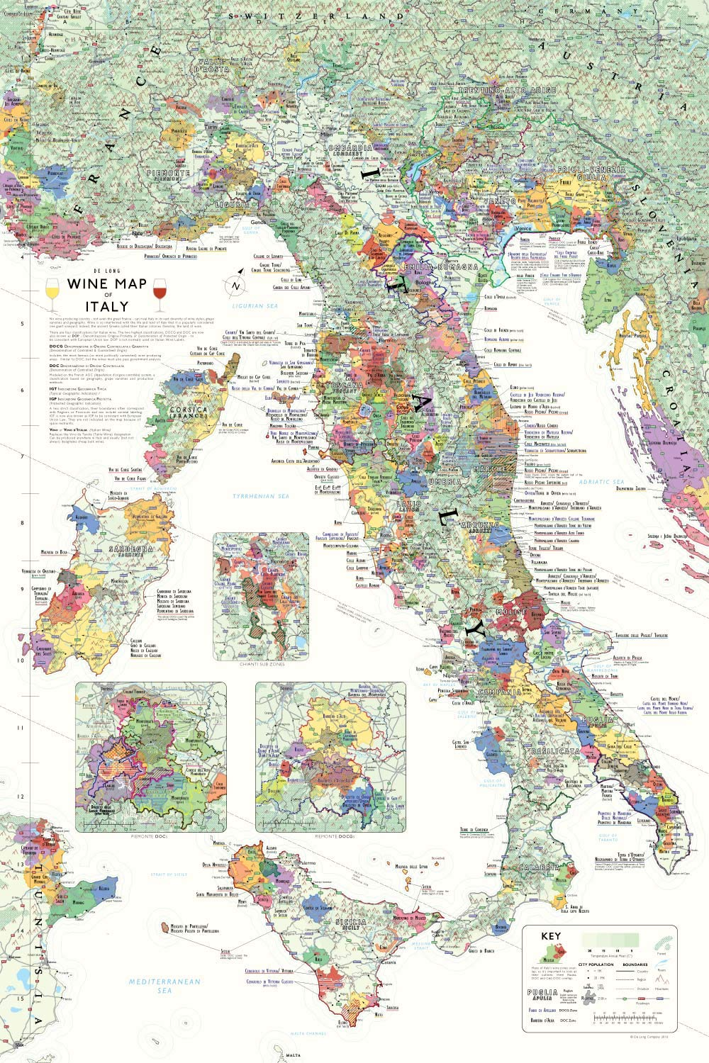 Wine Map of Italy by De Long