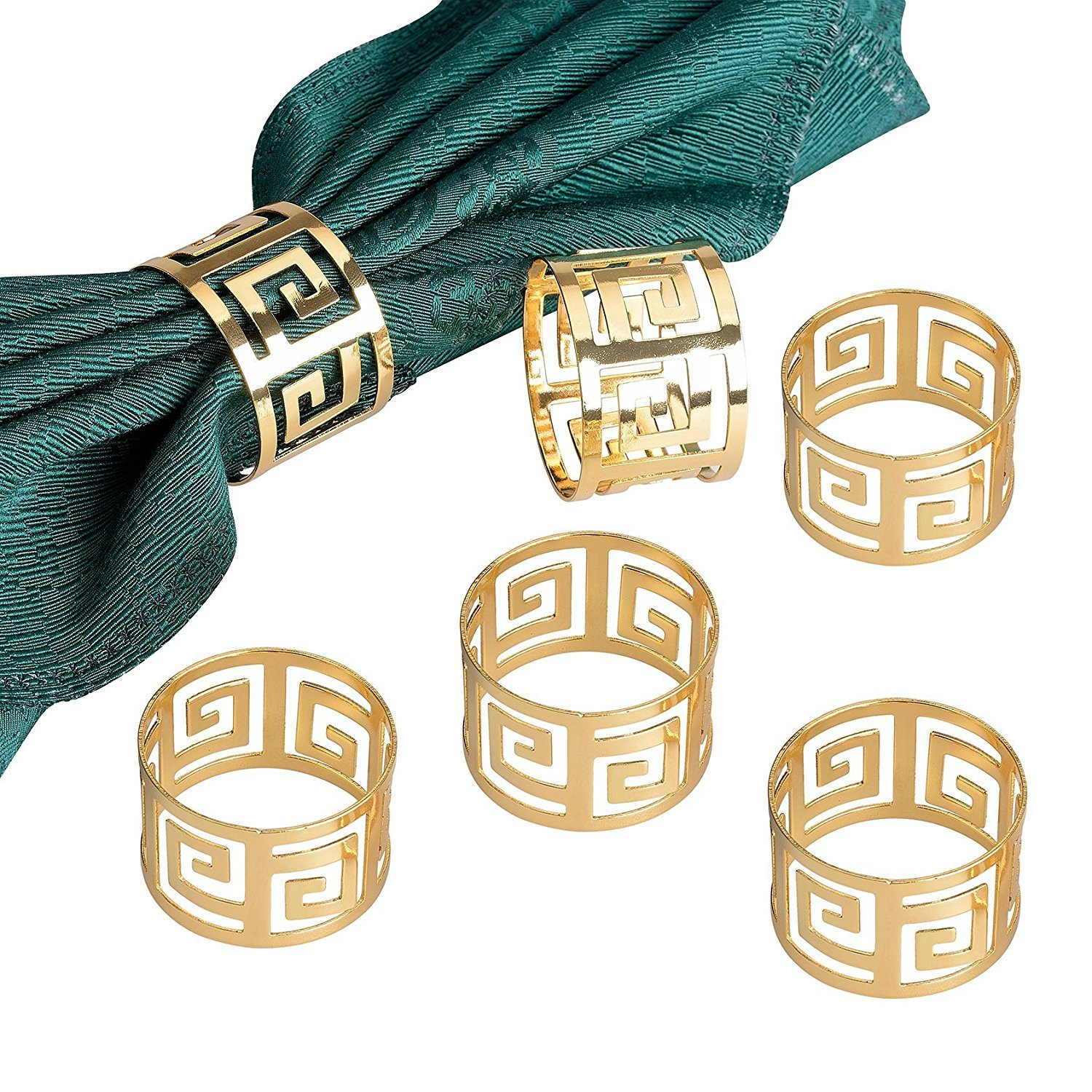 Napkin Rings Pack,Derker Set of 6 Hollow Out Round Napkin Rings for for Wedding, Party, Holiday, Dinner (Gold) COMINHKPR80121