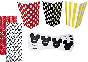 Birthday Party Kit - 24 Popcorn Treat Boxes - 24 Mickey Inspired Mouse Ear Vinyl Chalkboard Labels - 50 Paper Straws - Red Black Yellow White