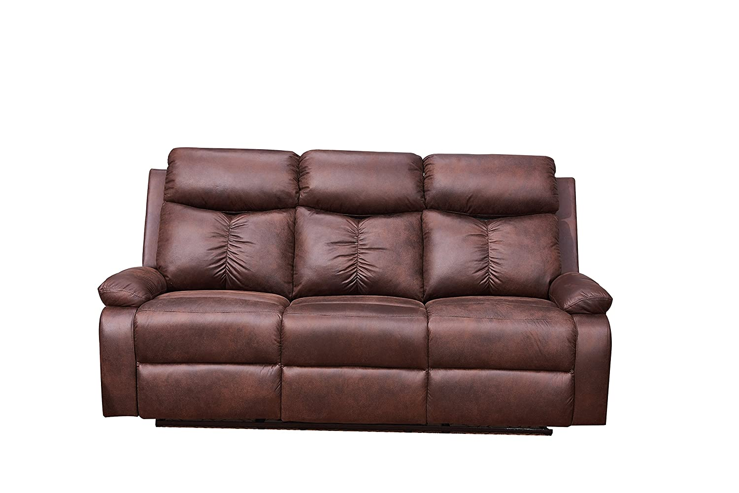 Betsy Furniture Microfiber Fabric Recliner Sofa Set Living Room Set in Brown 8065 Living Room Set 3 1
