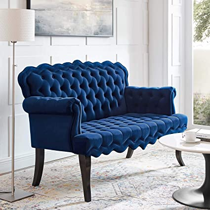 Modway EEI-3373-NAV Viola Chesterfield Button Tufted Loveseat Performance Velvet Settee Navy