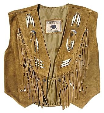 ad8f2319e72a60 Running Bear Weste Weste Lederweste beige mit Knochen und Fransen Wildleder  Unisex Western  Amazon.de  Bekleidung
