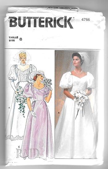 Amazon.com: Vtg 1980\'s Butterick Wedding Bridal Dress Sewing Pattern ...