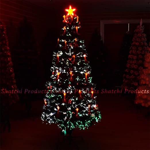 2ft led fibre optic christmas tree pre lit xmas decoration with candle bow - Led Fiber Optic Christmas Tree