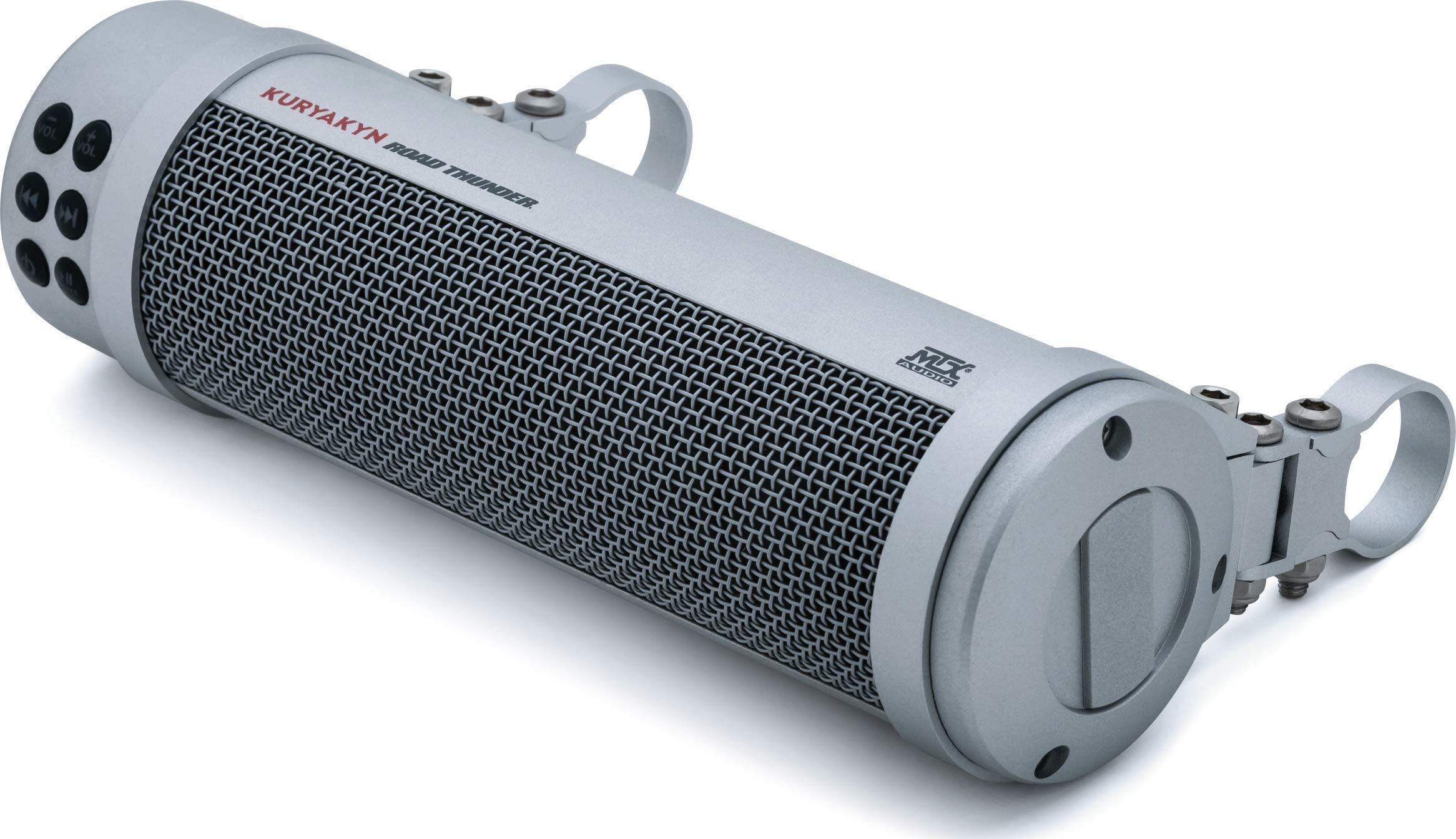Kuryakyn 2719 MTX Road Thunder Weather Resistant Motorcycle Sound Bar Plus: 300 Watt Handlebar Mounted Audio Speakers with Bluetooth, USB Power Charger, Satin Silver