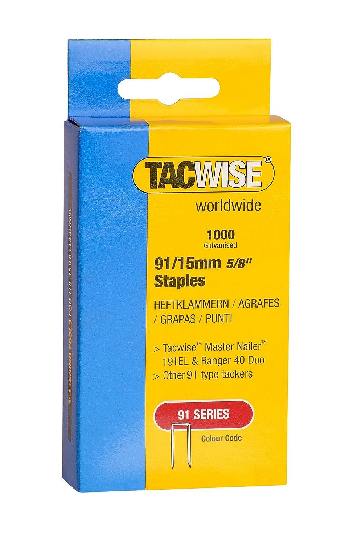 Tacwise 0283 Grapas de 91 x 15 mm (Caja de 1000 Unidades), 15 mm, Set Piezas