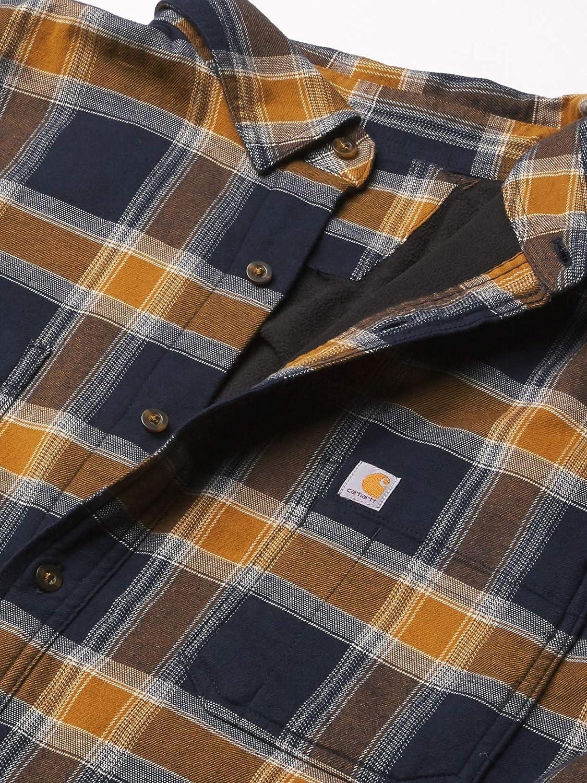 Carhartt Mens Rugged Flex Relaxed Fit Flannel Fleece-Lined Plaid Shirt