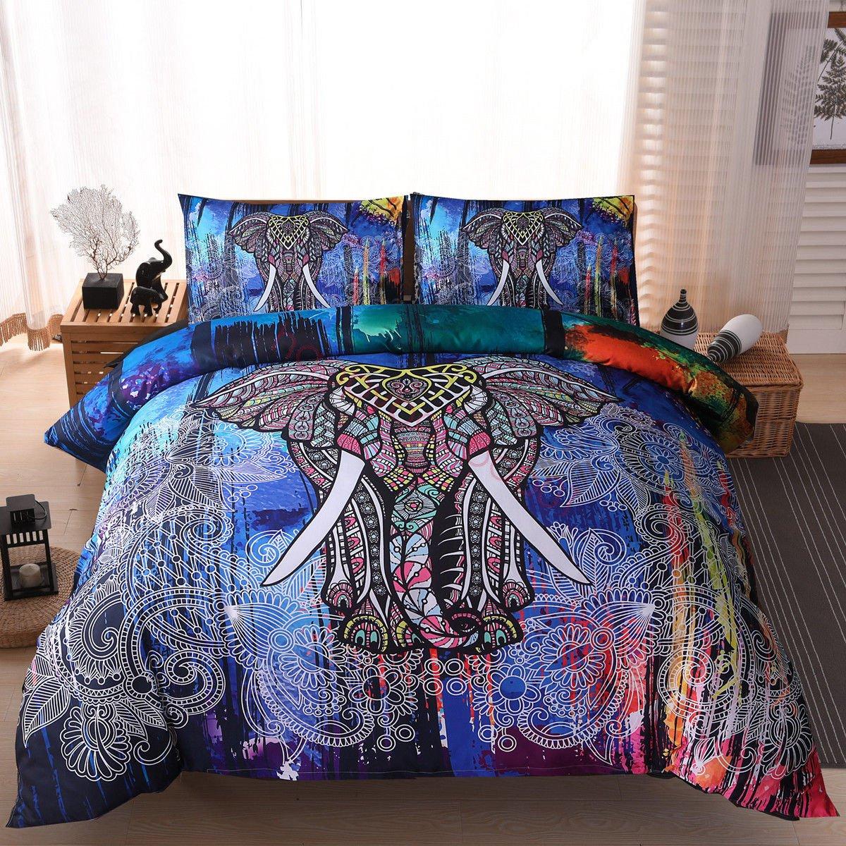 (006) Mandala Comforter Bedding Cover Colorful Elephant Boho India Duvet Covers Set