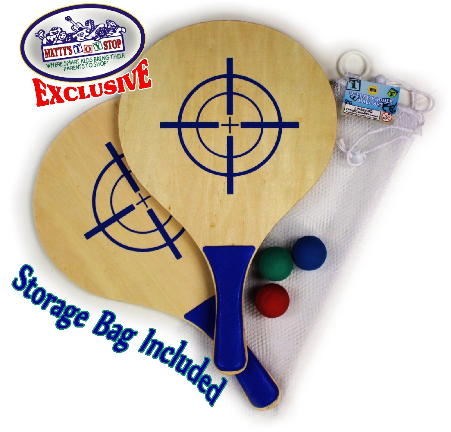 Matty's Toy Stop Deluxe Wooden Paddle Ball Game Set with 3 Solid Rubber Balls & Mesh Storage Bag by Matty's Toy Stop