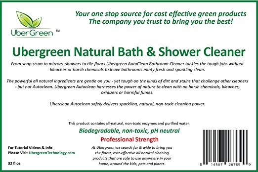 Amazon.com: Non Toxic Bath And Shower Cleaner By UberGreen | Cleans Soap  Scum, Showers, Tile, Toilets, Grout, And Mirrors: Health U0026 Personal Care