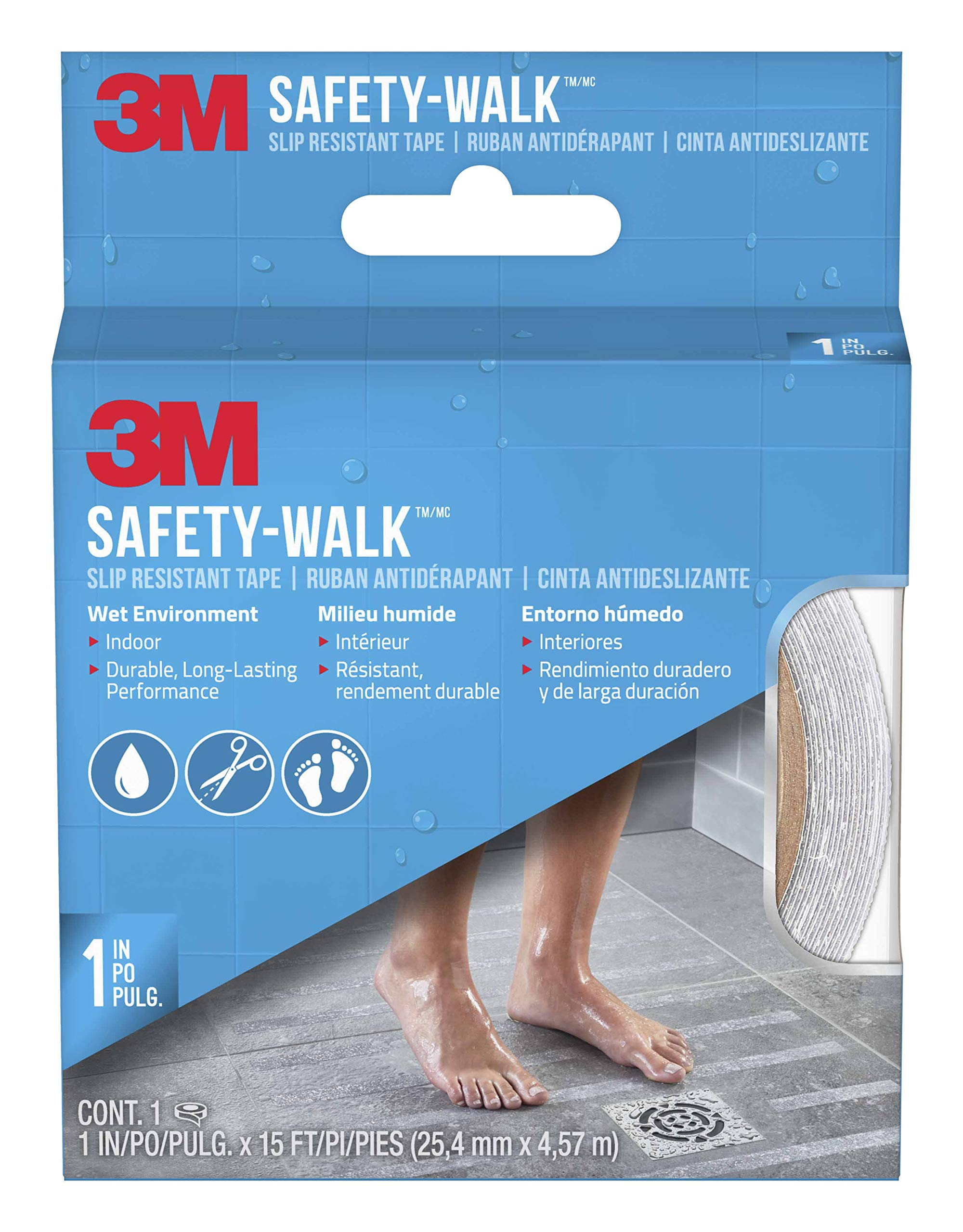 3M Safety-Walk Tub and Shower Tread, Clear, 1-Inch by 180-Inch Roll, 7640NA