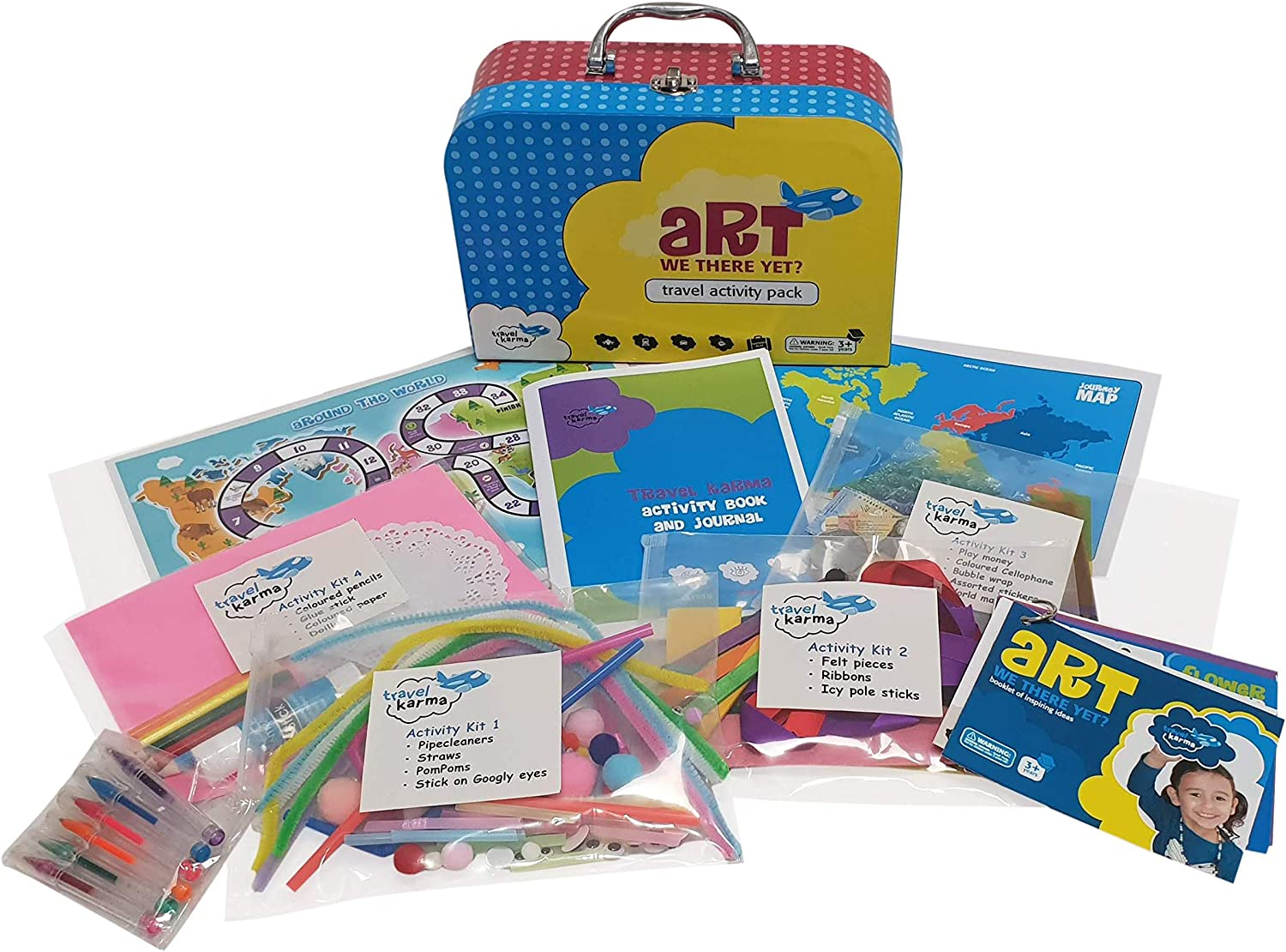 Travel Activity Captivate Busy Kids on Airplane, Train, car 36+ Activities in 4 Zip Bag Kits