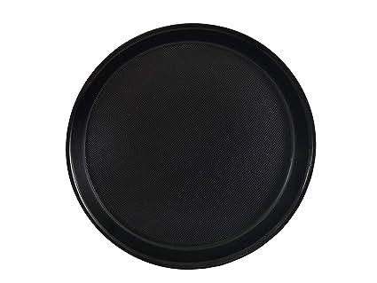 Staabs Bandeja Gastro Redonda, Negro con Borde Elevado y Superficie Antideslizante, Bandeja Camarero,