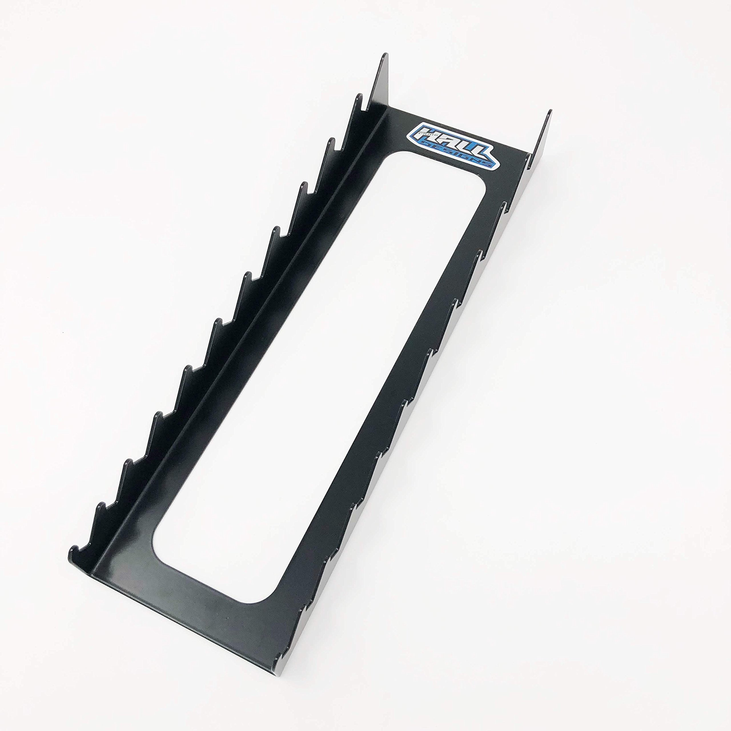 Wrench rack by Hall Designs | 11 slot, short handle, large, steel, Made in USA (BLACK)