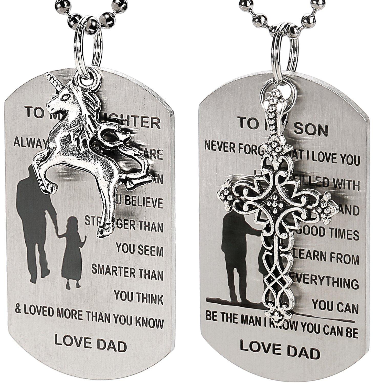 2pcs dog tag necklacekeychain w cross unicorn charm to my son inspirational quote