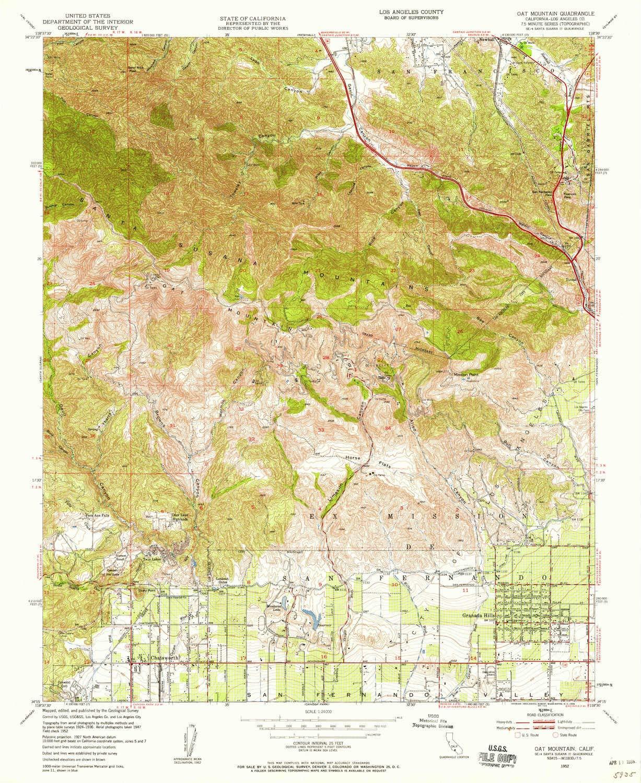 Amazon com : YellowMaps Oat Mountain CA topo map, 1:24000 Scale, 7 5