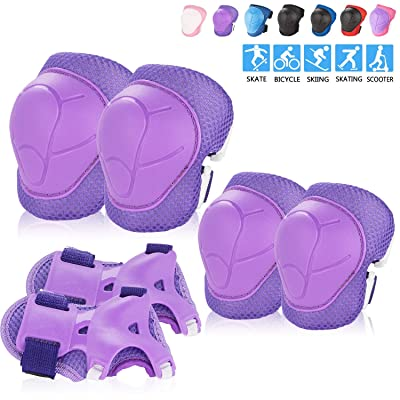 BOSONER Kids/Youth Knee Pad Elbow Pads Guards Protective Gear Set for Roller Skates Cycling BMX Bike Skateboard Inline Skatings Scooter Riding Sports (Purple) : Sports & Outdoors