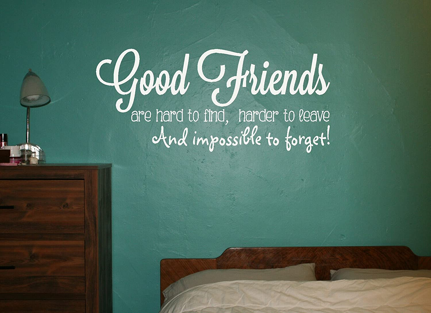 Wall Decor Plus More WDPM3122 Good Friends Impossible to Forget Wall Decal Sticker 36x16-Inch White