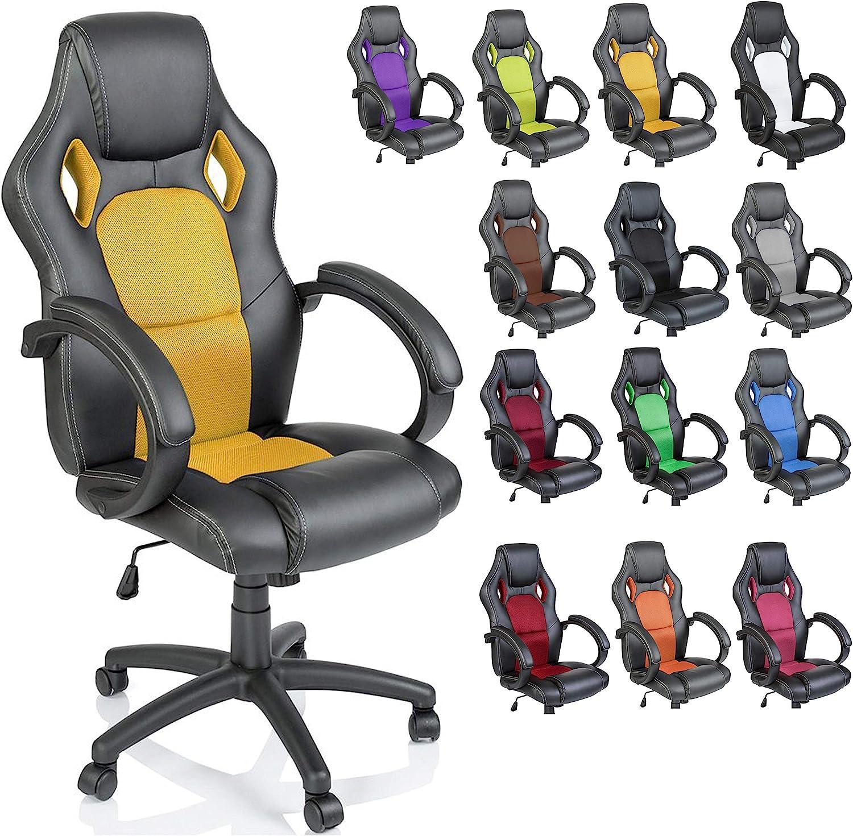 inclinazione TRESKO/® Sedia da Ufficio Poltrona Ufficio Versione Racing 14 diferente Colores Sollevare SGS Testato Giallo braccioli Imbottiti