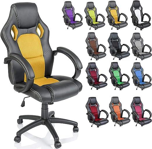 Todo para el streamer: TRESKO Silla giratoria de oficina Sillón de escritorio Racing disponible en 14 colores, bicolor, silla Gaming ergonómica, cilindro neumático certificado por SGS (Negro/Amarillo)