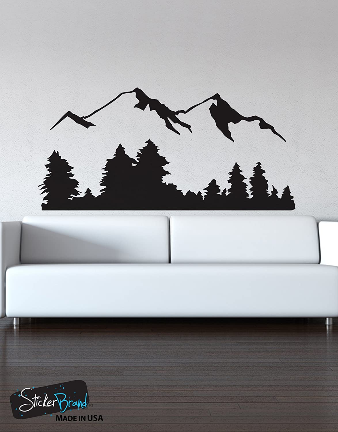 Amazon stickerbrand landscapes vinyl wall art snowy mountain amazon stickerbrand landscapes vinyl wall art snowy mountain view wall decal sticker 194a easy to apply removable home kitchen amipublicfo Choice Image