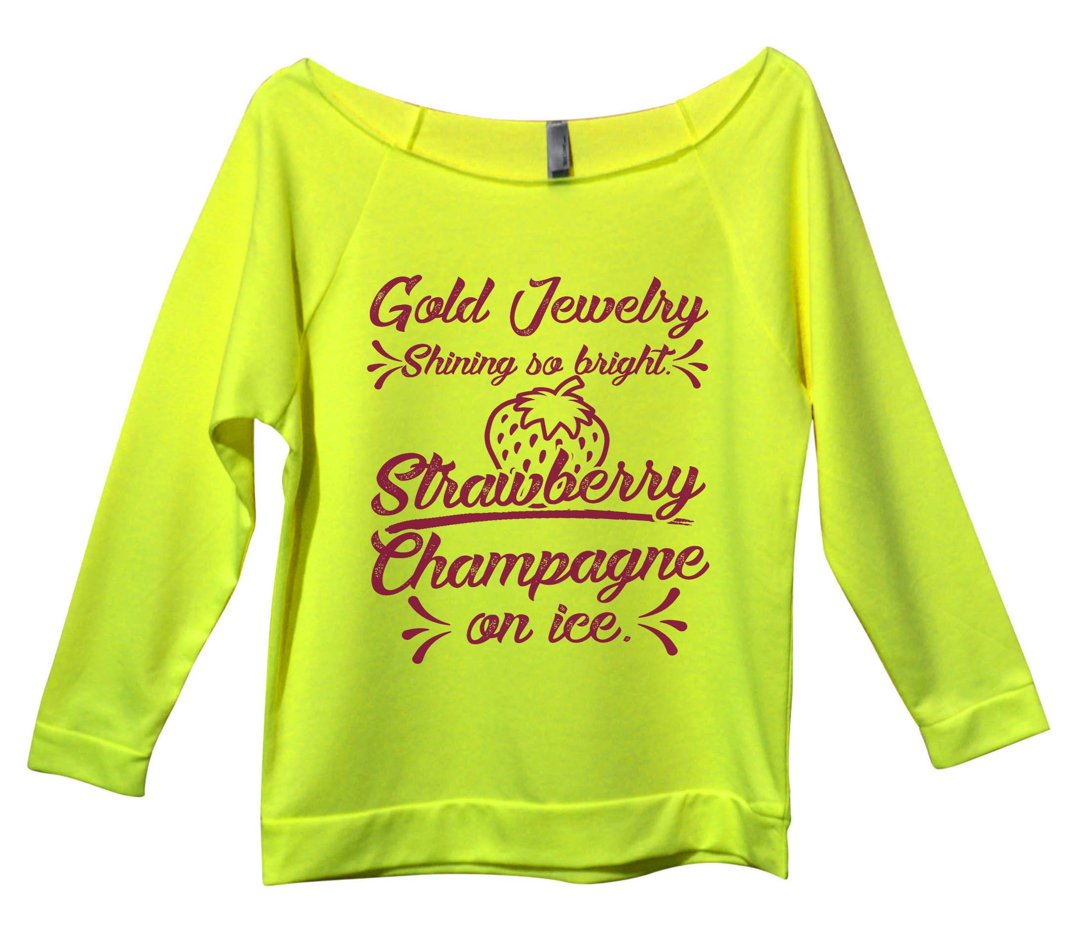 Cute Music Lover Trendy Sweatshirt ''Gold Jewelry Shining So Bright'' XX-Large, Neon Yellow