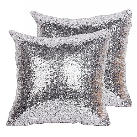 Bienestar manta funda de almohada de color plateado con ...