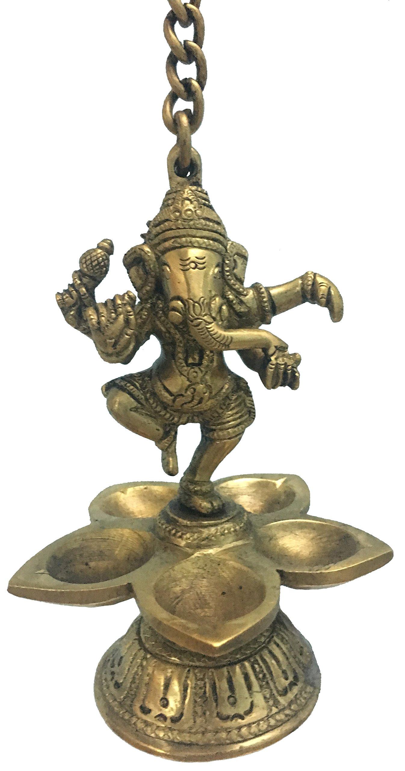 Vrinda Brass Lamp Dancing Ganesha 5.5'' hangable
