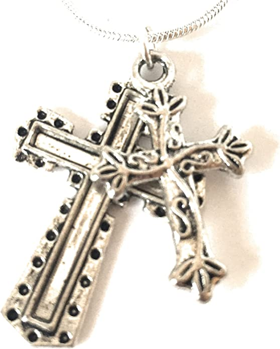 Quensk Bleeding Rose Cross Necklace Christ Necklace Pendant Cross Prayer Fashion Accessories for Men Women