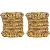 Mansiyaorange Traditional Fancy Designer Party Wedding Wear Original Hand Work Antique Golden Bangle Set for Women