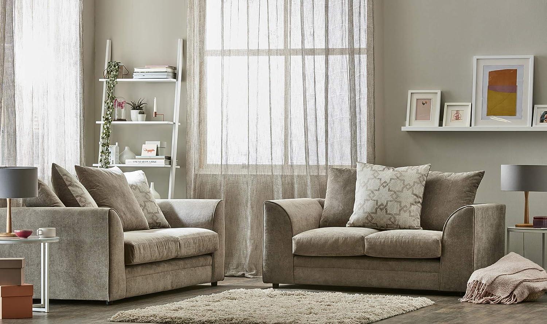New 3 + 2 Fabric Sofa Suite Beige Tipton Sofa Suite Small ...