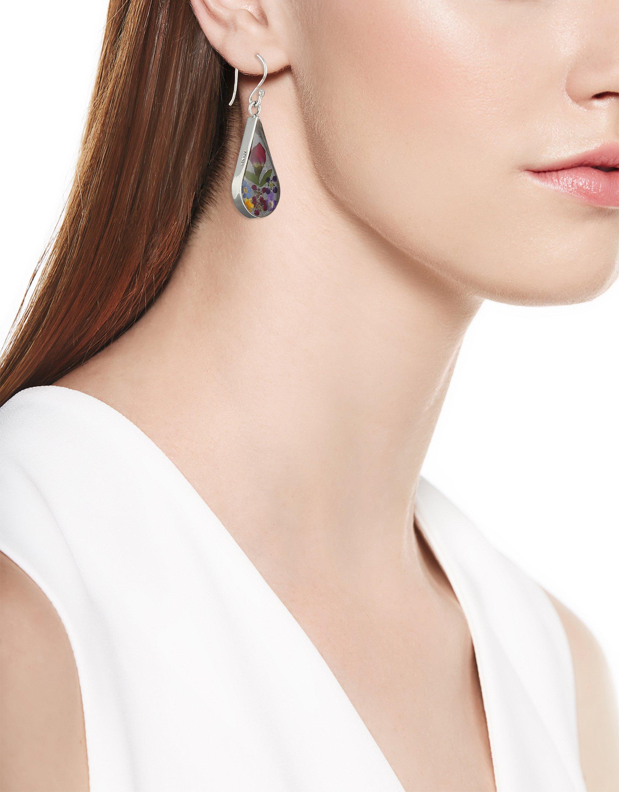 Sterling-Silver-Pressed-Flower-Teardrop-Earrings
