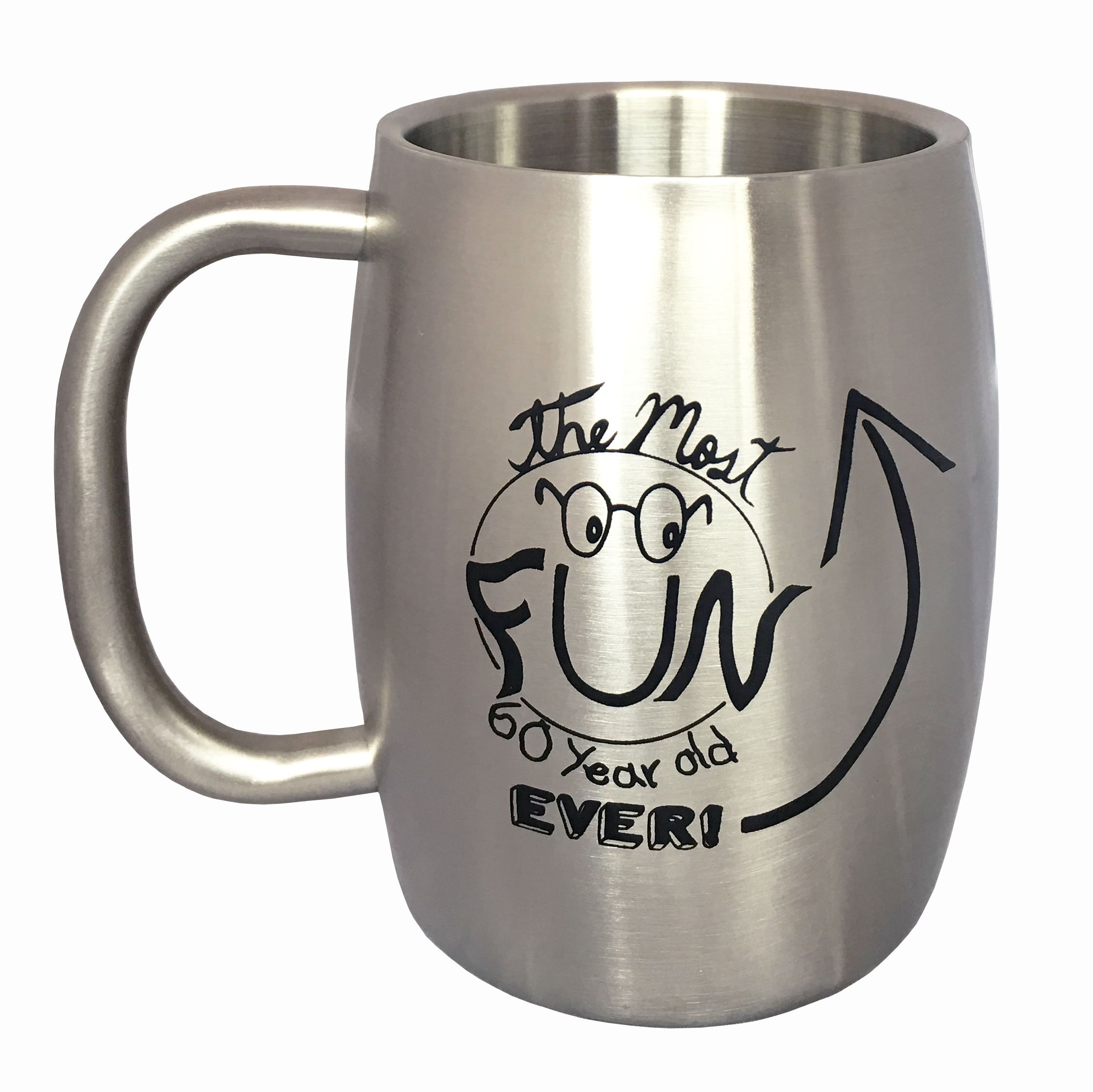 60th Birthday Gifts for Men - Stainless Steel Mug (14 ounces) - Insulated Beer Mug or Large Coffee Mug for Men by Lifestyle Banquet