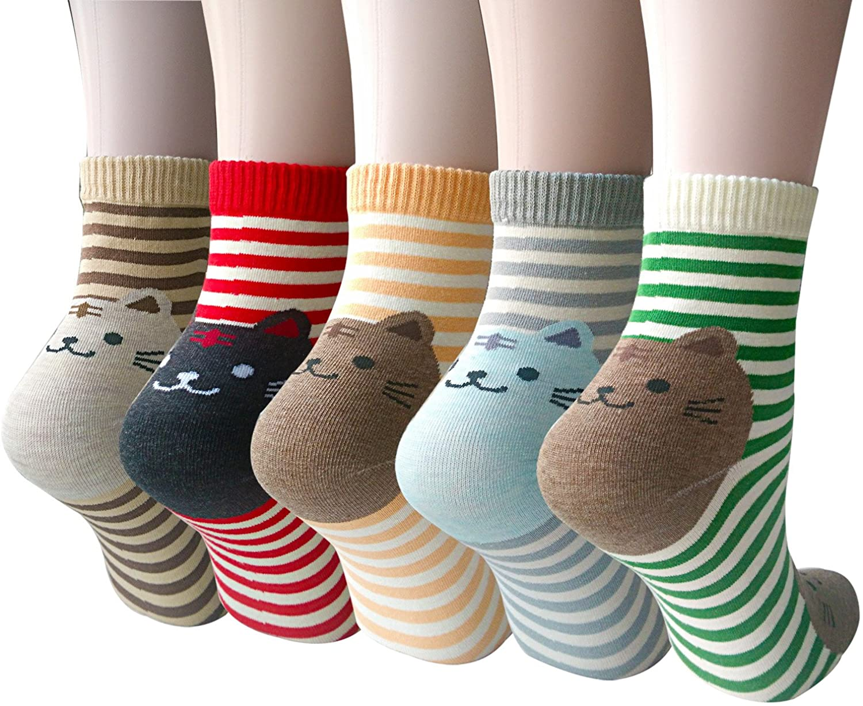 Chalier Pack de 5 Calcetines de Animales Lindos para Mujer Calcetines de Algodón Divertidos Ocasionales para Mujer (A4): Amazon.es: Ropa y accesorios