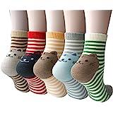 4/5 Pairs Women Cotton Socks - Funny Cute Animal Ladies Socks for Winter