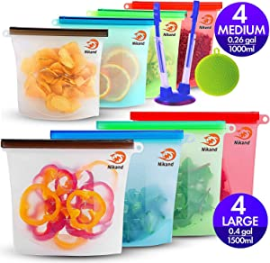 Silicone Bags Reusable Silicone Food Bag Reusable Sandwich Bags Ziplock Bags Silicone Storage Bags Silicon Containers Plastic Conteiner Freezer Gallon Size Zip Snack Sous Vide Lunch