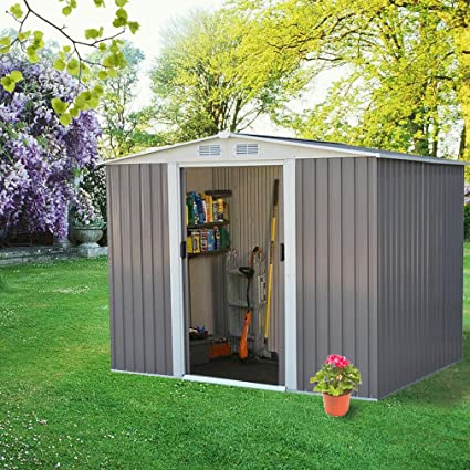 Bon 8x6 Feet Garden Storage Shed,2 Sliding Doors U0026 4 Vents,Backyard Warehouse,