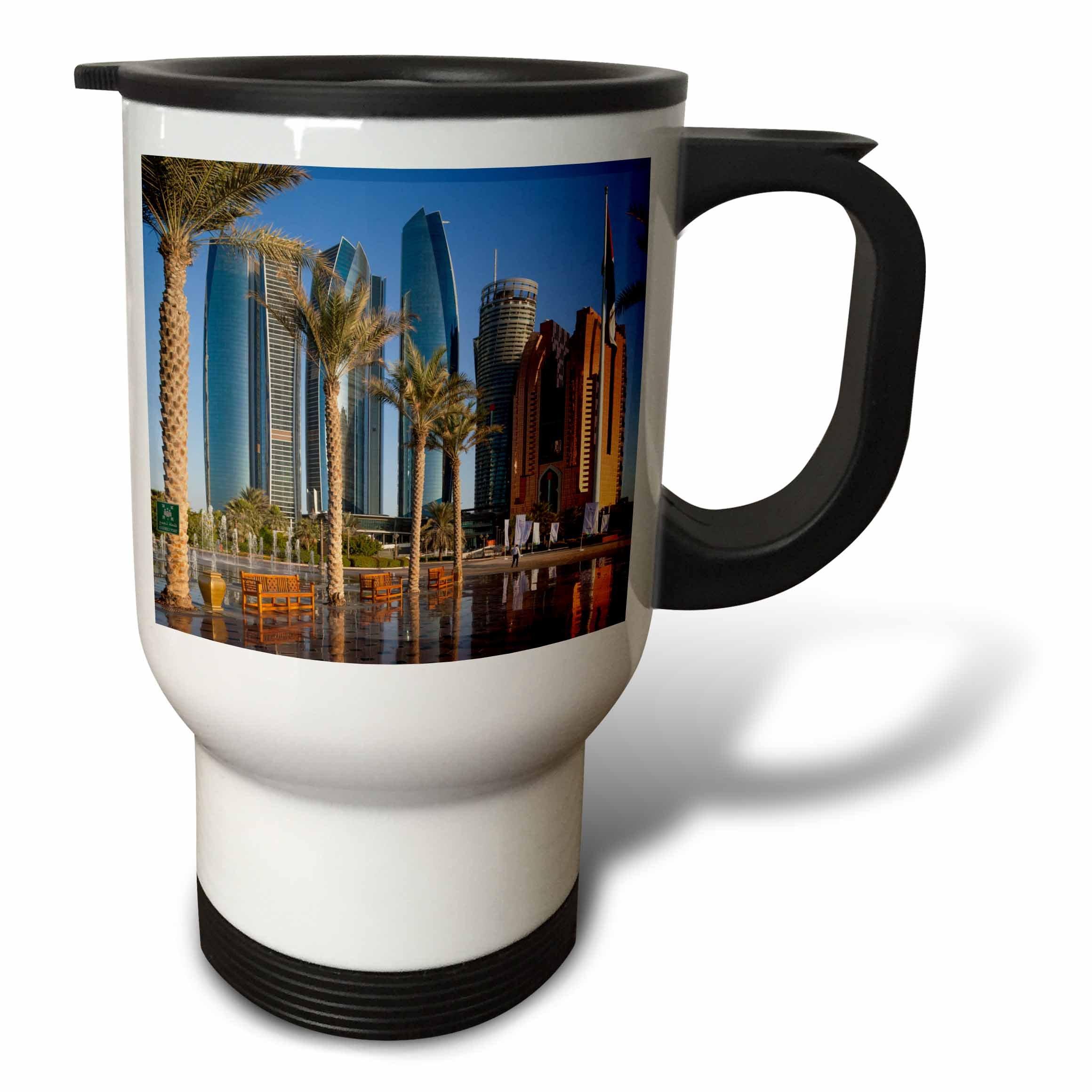 3dRose Danita Delimont - Cities - UAE, Abu Dhabi. Etihad Towers and Emirates Palace Hotel fountains - 14oz Stainless Steel Travel Mug (tm_277135_1)