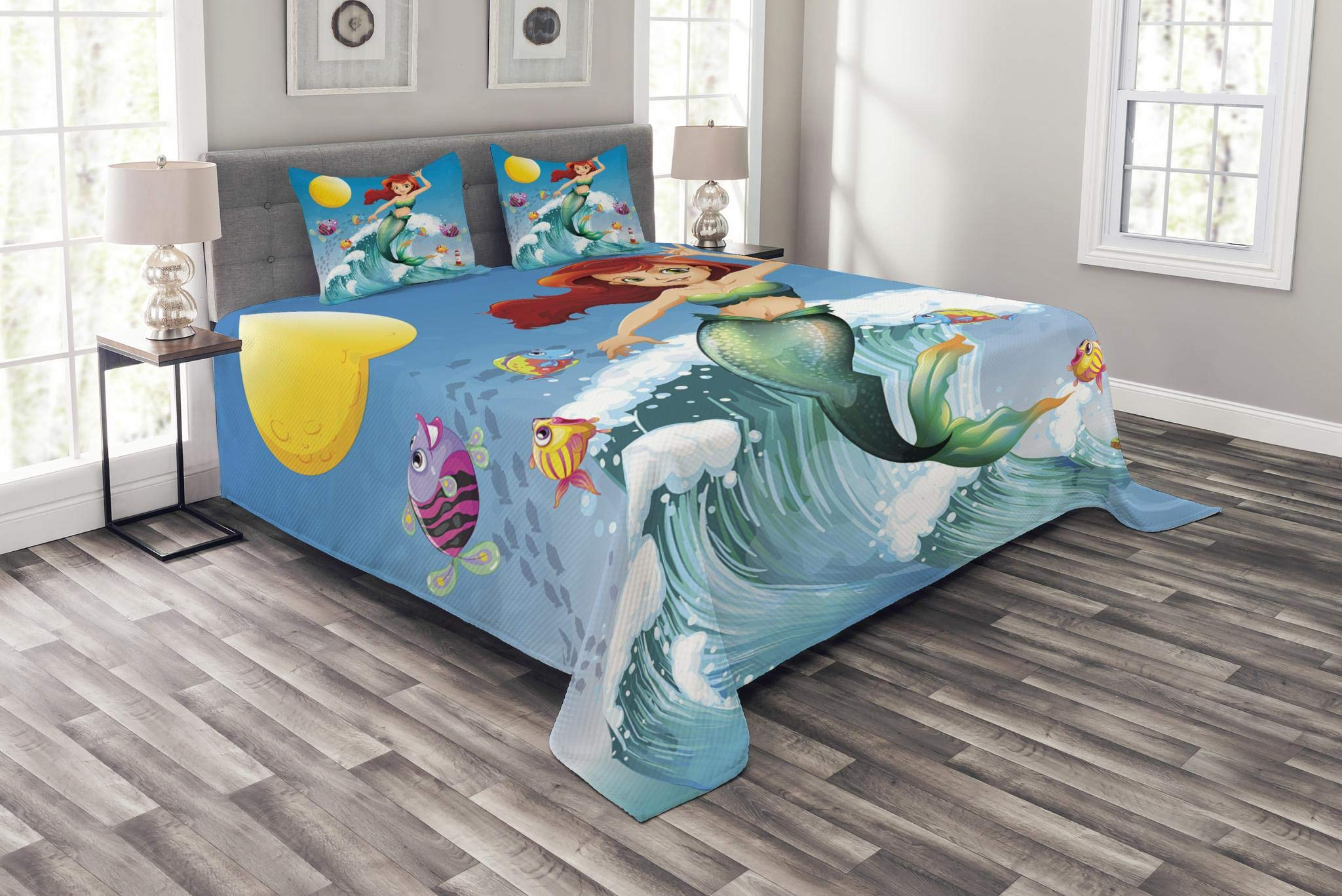 Ambesonne Mermaid Bedspread, Illustration of Little Mermaid on top of a Big Wave in The Surf with Fish Kids, Decorative Quilted 3 Piece Coverlet Set with 2 Pillow Shams, King Size, Blue Green by Ambesonne