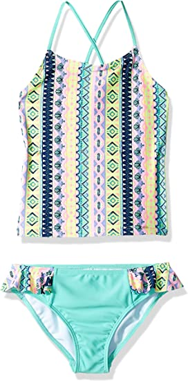 Rivstar Girls Big Tankini Springtime Stripe Ruffle Bottom 2pc