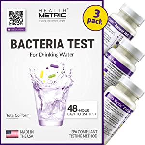 Coliform Bacteria Test Kit for Drinking Water - Easy to Use 48-Hour Water Quality Testing Kit for Home Tap & Well Water | EPA Approved Testing Method | Made in The USA | Incl. E Coli | 3-Pack