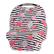Itzy Ritzy 4-in-1 Nursing Cover, Car Seat Cover, Shopping Cart Cover and Infinity Scarf – Breathable, Multi-Use Mom Boss Breastfeeding Cover, Car Seat Canopy, Cart Cover and Scarf, Floral Stripe