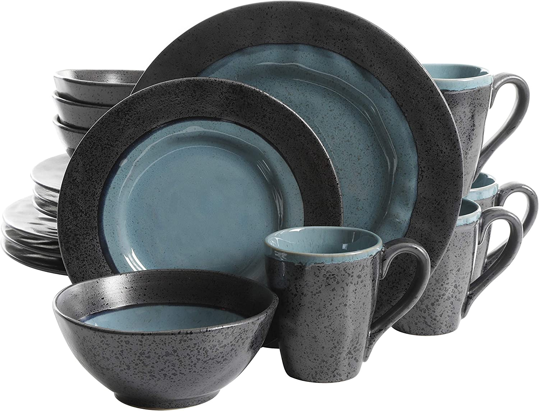 Gibson Dragonstone 16 pc Dinnerware Set Stoneware, Aqua -