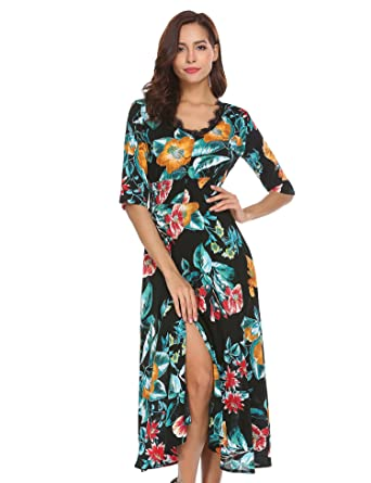 6092323f966d Funpor Women s V Neck 3 4 Sleeve Floral Print Split Chiffon Long Midi Dress