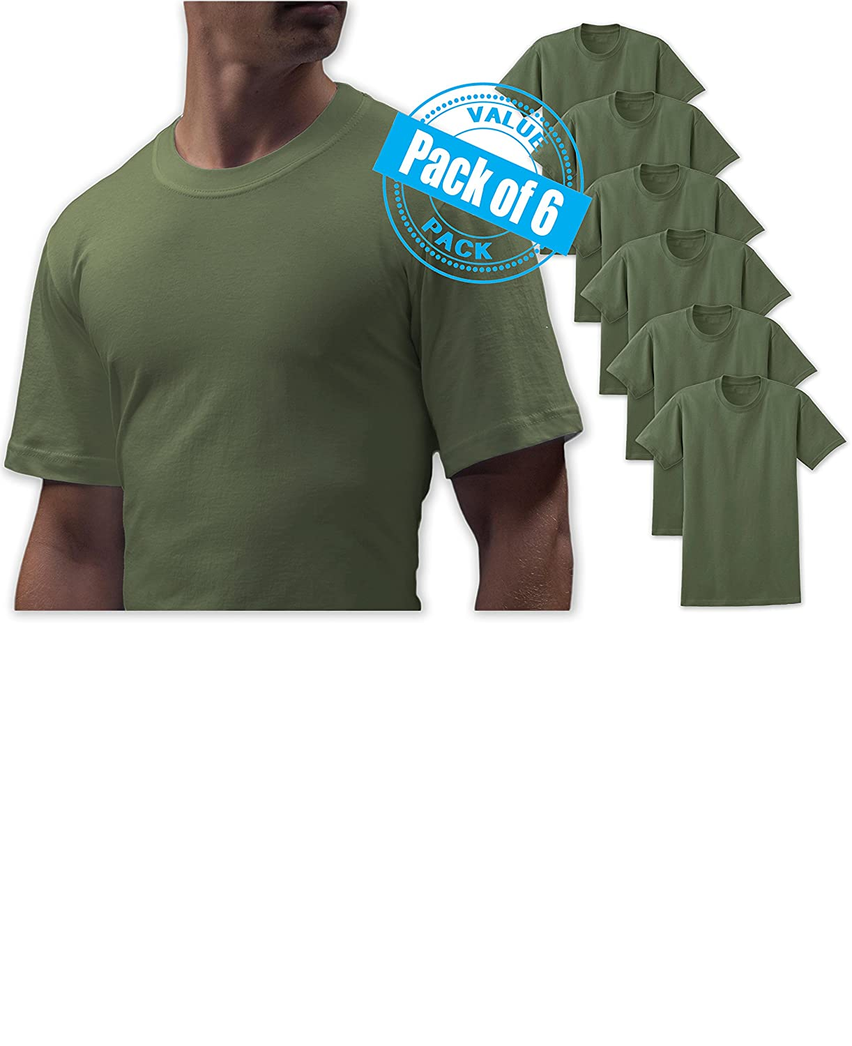 4fb1e5c07 Pack of 6 / 100% Combed Cotton Lightweight Crew Neck T Shirts for Big Men  Army Military Camo Green Soft Cotton Fabric is Light enough for Undershirt  or ...