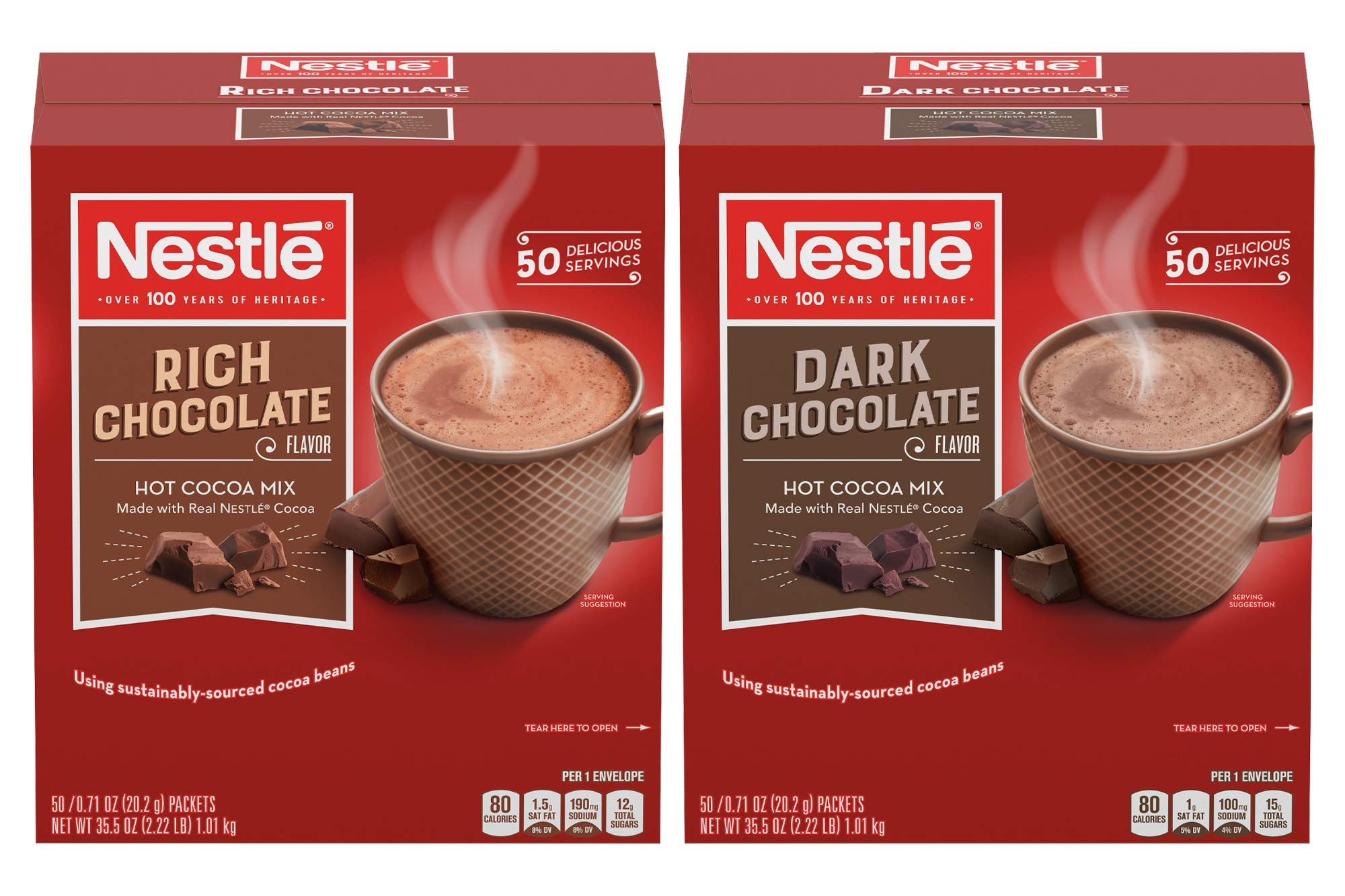 Nestle Hot Chocolate Variety Pack, Hot Cocoa Mix Pack | 50 Packets Rich Chocolate, 60 Packets Milk Chocolate (110 Packets) by Nestle Hot Cocoa