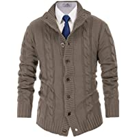 Paul Jones Mens Casual Stand Collar Cable Knitted Button Down Cardigan Sweater