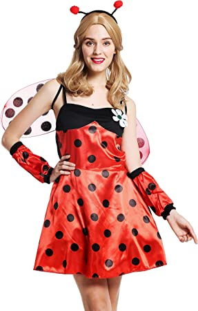 dressmeup - W-0058-M/L Disfraz Mujer Feminino Mariquita Rojo con ...